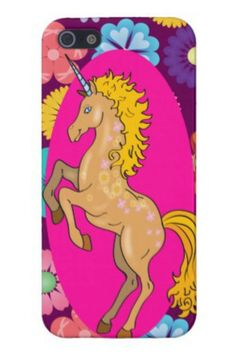 Colorful Mystical Unicorn on Pink Purple Flowers iPhone 5 Case Cool Iphone 5 Cases, 5s Cases, Pink And Purple Flowers, Your Design, Mystic, Girly, Unicorns, Creative, Pegasus