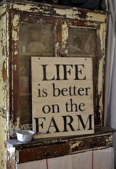 Life is better on the Farm vintage sign farmgirl fancies wooden sign