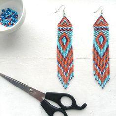 Ethno earrings,ethnic beabed earrings,boho earrings,boho jewerly,seed earrings,ethno jewerly,long earrings,beadwork jewerly by HappyArtesana on Etsy