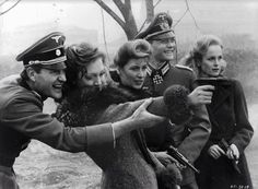 Members of Hitler's bunker Julian Glover Doris Kunstmann Amy Lynn Simon Ward and Sheila Gish out having target practice in a scene from the film 'Hitler: The Last Ten Days', Get premium, high resolution news photos at Getty Images German Soldiers Ww2, German Army, Luftwaffe, Julian Glover, Germany Ww2, Military History, World War Two, Historical Photos, Wwii
