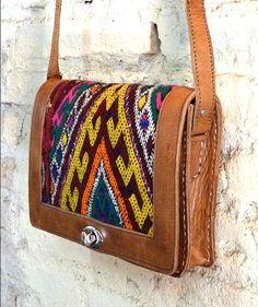 Boho leather and tribal blanket satchel, Oujda