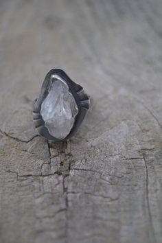 Bague quartz d'Amérique ensemble naturel en par PrairieFairyDesigns