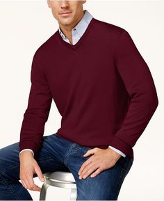 Club Room Men's Regular-Fit Solid V-Neck Merino Sweater, Created for Macy's - Red Plum Merino Wool Sweater, Wool Sweaters, Pullover Sweaters, Men Sweater, Mens Sweater Outfits, Mens Dress Sweaters, Cashmere Sweaters, Cardigans, Wool Blend