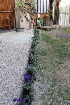 Bordure d\'allée avec morceaux de palette | jardin et plantes ...