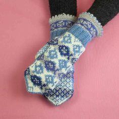Mitten kit including yarns and instruction in catalogue Paikkakuntalapaset. Fair Isle Knitting, Knitting Socks, Knit Socks, Fingerless Mittens, Wrist Warmers, Nordic Style, Model, Pattern, Handmade