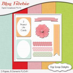 New Digital Scrapbook Freebie Download the project life journal cards, washi tape, banners, and flower  FREE
