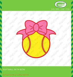 Softball With Bow Baseball Frame SVG DXF PNG eps by Alligcutter