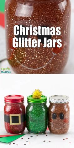 Christmas Glitter Jars Made with mason jars, glitter, and a few b. - Christmas Glitter Jars Made with mason jars, glitter, and a few basic craft supplies - Pot Mason Diy, Mason Jars, Mason Jar Crafts, Christmas Balls Diy, Diy Christmas Ornaments, Christmas Glitter, Christmas Tree, Glass Ornaments, Holiday Crafts