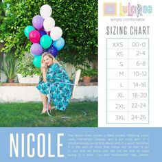 A dress boasting a fitted bodice, flattering scoop neck, mid-length sleeves, and a full circle skirt. Made to be both casual and dressy, the Nicole is a must-have in every closet. Lularoe Size Chart, Lularoe Sizing, Full Circle Skirts, Lula Roe Outfits, Lularoe Dresses, Lularoe Clothes, Fitted Bodice, Facebook, Charts