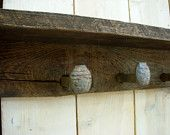 Railroad Spike Coat Rack - Rustic Shabby Cottage - Wall Shelf - Hooks - 40 Inch - Primitive - The Original. $90.00, via Etsy.