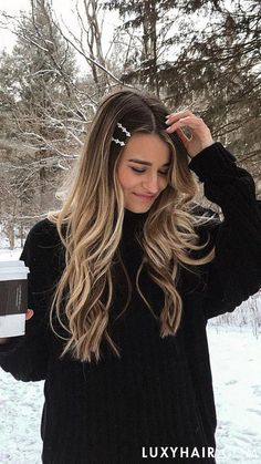 Balayage Blonde Ends - 20 Fabulous Brown Hair with Blonde Highlights Looks to Love - The Trending Hairstyle Balayage Long Hair, Blonde Wavy Hair, Balayage Brunette, Brunette Hair, Ash Blonde, Going Blonde To Brunette, Carmel Blonde Hair, Blond Bob, Golden Blonde Hair