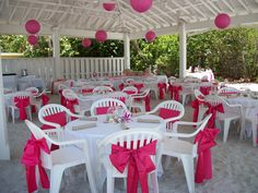 Pink wedding under the pavilion at the Sandbar