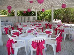 Pink wedding under the pavilion at the Sandbar