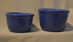2 Vintage Small Blue Oxford Pottery Mixing Bowls
