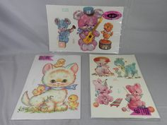 Vintage Meyercord Decals Lot of 3 Water Applied Transfers Flocked Baby Animals Cutie Feel by WesternKyRustic on Etsy