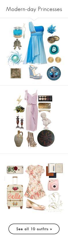 """Modern-day Princesses"" by hazeldazzle ❤ liked on Polyvore featuring Christian Louboutin, J. Peterman, Atlantis, Disney, LowLuv, MANIAMANIA, Versace, modern, Nina Ricci and Versus"