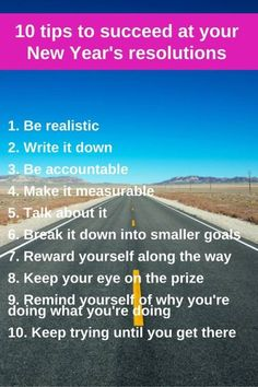 10 tips to succeed at your New Years reolution