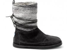 Black Wool Stripe Women's Nepal Boots | TOMS.com #toms My Birthday gift from Crerana and my mother-in-law. I Love them!