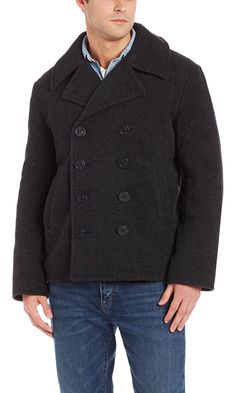 Alpha Industries Men's USN Wool Pea Coat, Grey, XX-Large Best Price