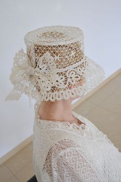 """This hat is made of bobbin lace, which is manufactured in the Russian city of Yelets, that's why it is called """"Yelets Lace"""". Turbans, Fascinator Hats, Fascinators, Headpieces, Bridal Hat, Church Hats, Fancy Hats, Wedding Hats, Love Hat"""