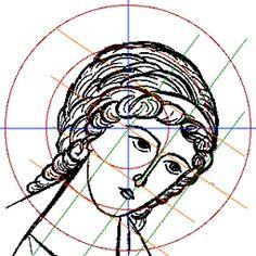 The construction of the frontal face. The three-quarter face. The construction of a three-quarter face Byzantine Icons, Byzantine Art, Religious Icons, Religious Art, Christian Drawings, Paint Icon, Illumination Art, Historical Art, Catholic Art