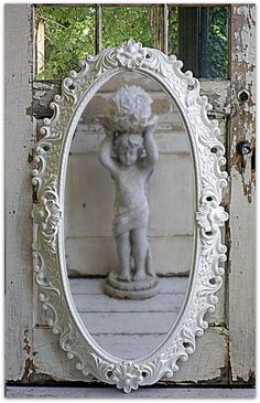 Items similar to Vintage Chic Mirror Shabby Cottage French Country on Etsy Shabby Chic Cottage, Vintage Shabby Chic, Shabby Chic Style, Vintage Decor, Cozy Cottage, French Decor, French Country Decorating, Vintage Mirrors, Beautiful Mirrors