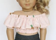American Girl doll sized Tutti Frutti cropped top - pink with pineapples by EverydayDollwear on Etsy