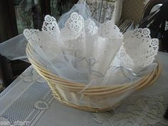 A tussie mussie is a victorian bouquet - but we can create one to be used for holding petals, rice or bird seed to toss at a wedding! Paper Doily Crafts, Paper Lace Doilies, Doilies Crafts, How To Make Confetti, Confetti Cones, Tea Party Favors, Sweet Cones, Wedding Sweets, Craft Box
