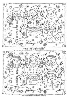Find the differences family of snowmen puzzle free printable. LOTS of other activity choices as well! Find the differences family of snowmen puzzle free printable. LOTS of other activity choices as well! Christmas Party Games, Christmas Activities, Winter Activities, Holiday Fun, Christmas Crafts, Christmas Games Online, Fun Activities, Christmas Worksheets, Christmas Printables