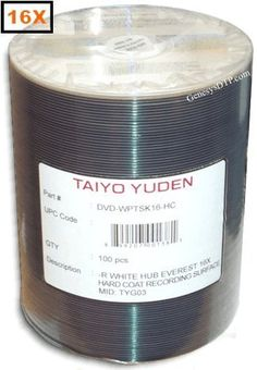 Taiyo Yuden 16X 4.7GB White Thermal Hub DVD-R With Hard Coat Recording Surface (Scratch Protection) 100-Pak for Rimage Everest II/III in Tapewrap by Taiyo Yuden. $52.95. Taiyo Yuden DVD-R's hold 4.7GB of data and offer the same high quality and reliability found in Taiyo Yuden CD-R's.  DVD-R's offer high capacity storage for multimedia and video applications.  White Thermal Hub Printable surface. No stacking ring or groove allows full-face, hub printing!