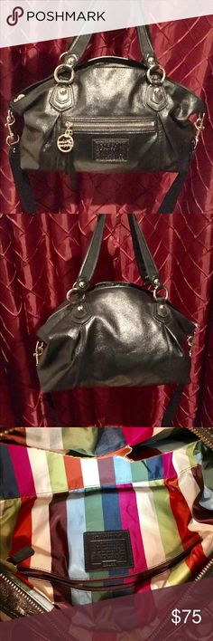 """👜Black COACH Leather Poppy Rocker Satchel 100% Authentic. ✨Like new✨black metallic COACH Poppy Rocker Satchel Bag with shoulder strap and polish nickel hardware. Excellent condition with no markings, scratches or damage. Interior features beautiful legacy stripe lining. Bag can also be worn as a cross body bag. Measurements: 15""""x9""""x5"""".     ~Thanks for shopping by 😉 and taking a look. ❗️**Please N🚫 Trades, N🚫 Holds, N🚫 Low Ball offers.** ❗️Thank you!**👜👗👠👛👟💄🛍 Coach Bags Satchels"""