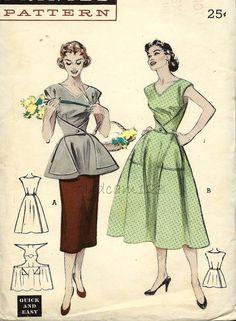 Vintage 1950s Walkaway Dress or Cobblers Apron Triangle Shaped Pockets V Neck Butterick 6655 Bust 34 UNCUT