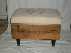 Instead of buying a big expensive ottoman, I will be making two of these. Already bought the wine crates and grain/feed sacks. Wooden Wine Crates, Old Wooden Boxes, Crate Ottoman, Apple Boxes, Craftsman Interior, Do It Yourself Home, Wood Projects, Diy Furniture, Decoration