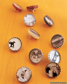 thumbtack bottle cap-I did these as magnets and put scrapbook letters, buttons, beads and sequins in...some melted in the resin but they turned out great still! Love the photo idea!!