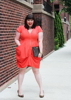 Plus Size Blogger Amber from Style Plus Curves, Orange Dress, City Chic Tunic Dress, Gwynnie Bee, Summer Essentials