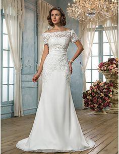 fuera del hombro barrer / cepillo tren vestido de boda de la gasa de la trompeta / de la sirena (604682) - EUR € 163.34