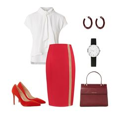 Kokerrok Helen Vuurrood. De perfecte rok voor een zakelijke outfit Blouse, Polyvore, Outfits, Image, Fashion, Skirts, Moda, Suits, Fashion Styles
