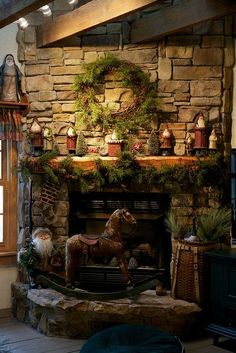 Winter at the Cabin - A Whole Bunch Of Christmas Mantels 2013 - Christmas Decorating - Just like this. It makes me want to be in the mountains.