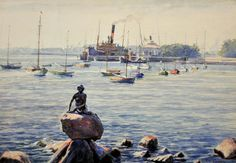 The Little Mermaid, Copenhagen  -  Charles Cundall  British , 1890-1971  Watercolor,33.00 x 47.00 cm