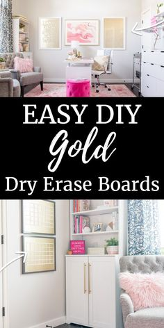 How to Make a Dry Erase Board – Did you know that it's simple to create a dry erase board in any color from gold to blue to pink? This DIY tutorial for makes it easy. They're great for office organization, a kid's room, or even your kitchen! Diy Home Decor Projects, Home Crafts, Diy Crafts, Decor Ideas, Diy Ideas, Craft Ideas, Home Office Design, Home Office Decor, Office Ideas