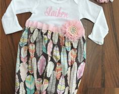 Baby girl take-me-home set in grey chevron and by PeacebyPiece01
