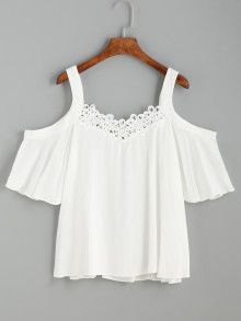 To find out about the White Cold Shoulder Crochet Trim Top at SHEIN, part of our latest Blouses ready to shop online today! Look Fashion, Teen Fashion, Summer Outfits, Casual Outfits, Couture, Diy Clothes, Blouse Designs, Passion For Fashion, Fashion Dresses
