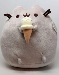 """Pusheen the Cat With Ice Cream Cone Gray Medium 9.5"""" Plush by Gund #GUND"""