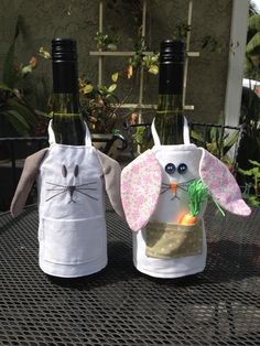 Pottery Barn on the left, my interpretation of their bunny wine bottle apron on the right.