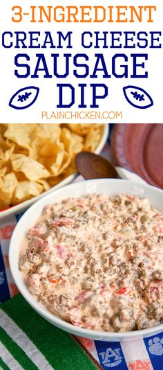3-Ingredient Cream Cheese Sausage Dip - SOOOO good! Sausage, cream cheese, and Rotel. Ready in under 10 minutes. Great for parties! There is never any left!!