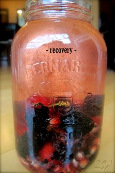 Recovery  This vitamin water is ideal for recovery post-workout or after a large bout of physical activity.  Blackberries and Cherries aid in replenishing oxygen in the blood while pomegranate and glutamine help to restore and repair muscle tissue damage.