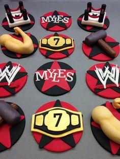 Fondant Wrestling Cupcake Toppers Wrestling by CherryBayCakes