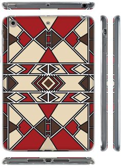 """Amazon.com: Tan, Brown, and Red {African Geometric Tribal Pattern} Soft Silicone Cute 3D Fitted Bumper Gel Case for iPad Mini 1, 2 and 3 by Apple """"Durable Cover with Cartoon Design - All Ports Accessible"""": Computers & Accessories"""