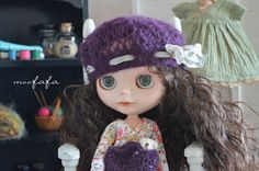 Knitting/Crochet lace beret hat  Purple