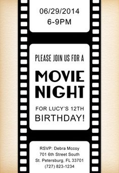"""Movie Night"" printable invitation. Customize, add text and photos. print for free!"
